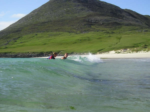 Bring your wetsuits and swim at Scarista, Norhton, Horgabost or Luskentyre beach