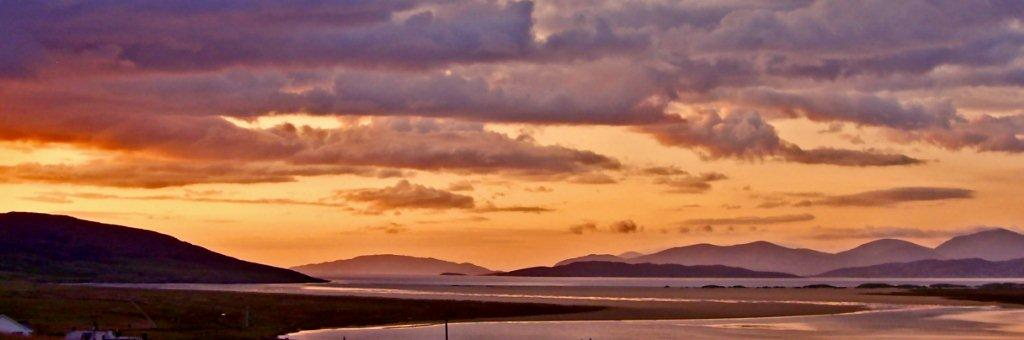 Sunset over the white sands of Scarista beach, just at a five minutes drive away from Kilda House
