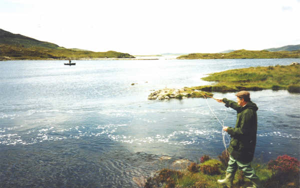 Flyfishing on the sea from the shore on the Isle of Harris